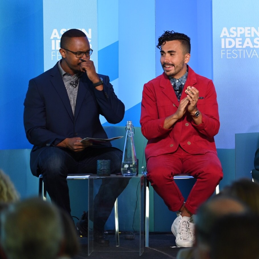 "Alejandro Gibes de Gac presenting at the ""Repairing America's Social Fabric, One Community at a Time"" panel discussion at the 2019 Aspen Ideas Festival"